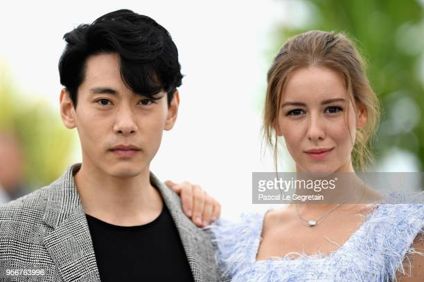 Actor Teo Yoo and Actress Irina Starshenbaum attend the photocall for Leto during the 71st annual Cannes Film Festival at Palais des Festivals on May...