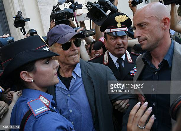 Actor Terence Hill whose real name is Mario Girotti leaves after the funeral of Italian actor Bud Spencer born Carlo Pedersoli at the 'church of the...