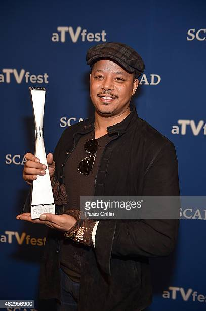 Actor Terrence Howard accepts the Spotlight Award during aTVfest presented by SCAD on February 7 2015 at SCADshow in Atlanta Georgia