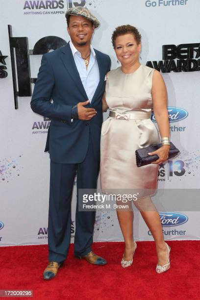 Actor Terrence Howard and Chief Executive Officer of BET, Debra Lee attend the 2013 BET Awards at Nokia Theatre L.A. Live on June 30, 2013 in Los...