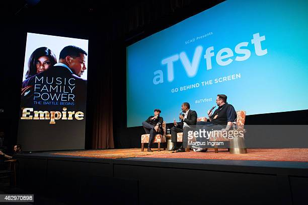 """Actor Terrence Howard and executive producer Lee Daniels onstage during aTVfest 2015-Day 3 Q-and-A session of FOX's """"Empire"""" presented by SCAD on..."""