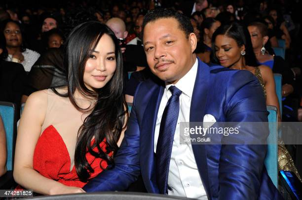 Actor Terrence Howard and Mira Christine Pak attend the 45th NAACP Image Awards presented by TV One at Pasadena Civic Auditorium on February 22 2014...