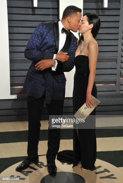 Actor Terrence Howard and Mira Pak arrive at the 2017 Vanity Fair Oscar Party Hosted By Graydon Carter at Wallis Annenberg Center for the Performing...