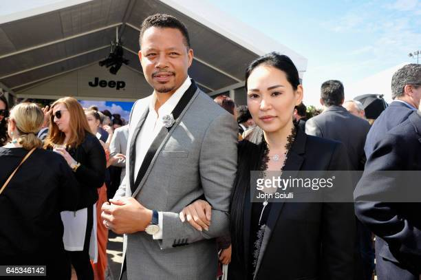 Actor Terrence Howard and Miranda Pak visit the Jeep tent at the 2017 Film Independent Spirit Awards sponsored by Jeep at Santa Monica Pier on...
