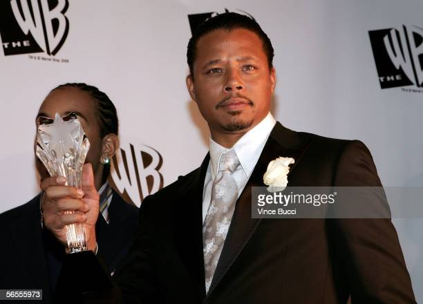 """Actor Terrence Howard of the film """"Crash"""" poses with Best Acting Ensemble Award in the press room at the 11th Annual Critics' Choice Awards held at..."""