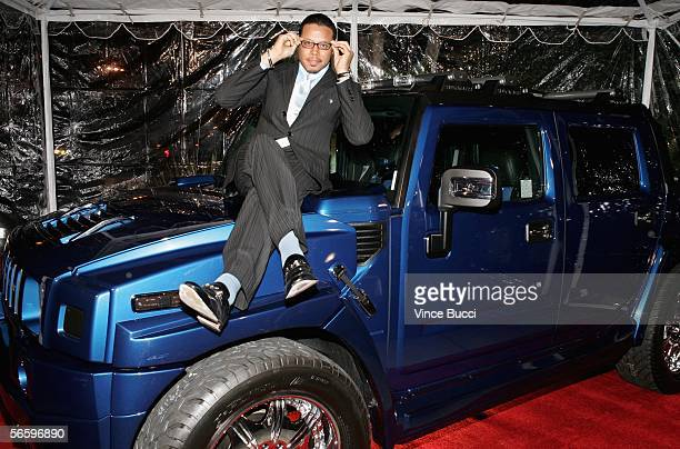 Actor Terrence Howard sits on a new Hummer H2 as he attends the Lionsgate and Showtime party honoring Golden Globe nominees for the film Crash and...