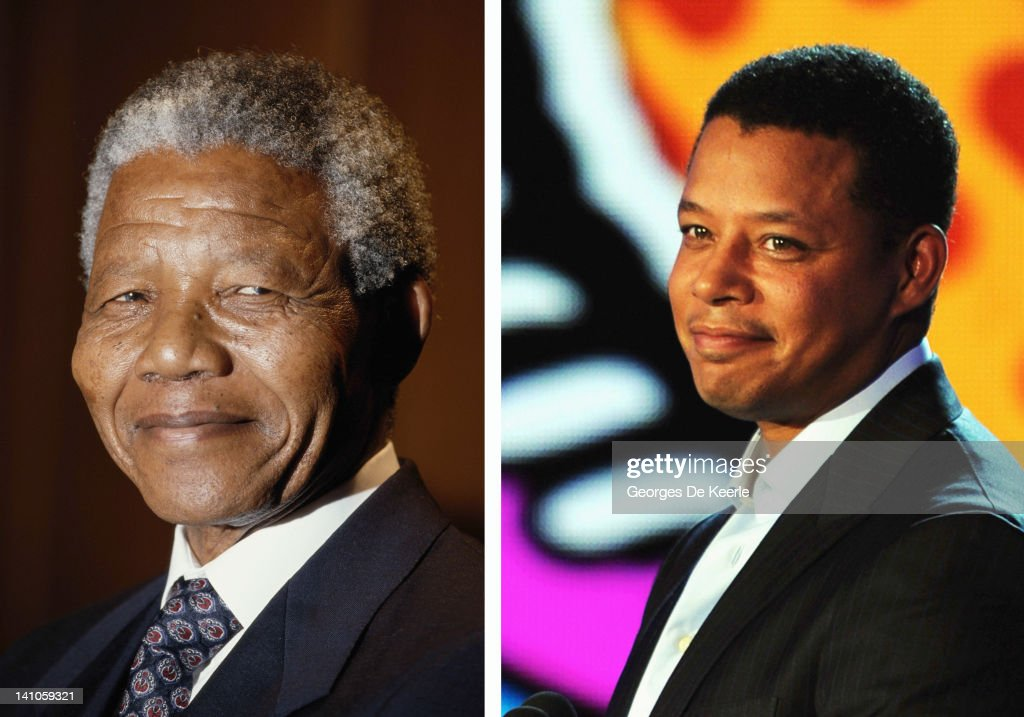 In this composite image a comparison has been made between Nelson Mandela (L) and actor Terrence Howard. Terrence Howard played Nelson Mandela in a 2011 film biopic about the wife of Nelson Mandela entitled 'Winnie.' HOLLYWOOD, CA - AUGUST 14: Actor Terrence Howard speaks onstage during the 2011 VH1 Do Something Awards at the Hollywood Palladium on August 14, 2011 in Hollywood, California.