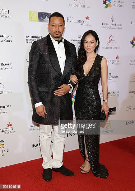 Actor Terrence Howard with his wife Miranda attend the Global Gift Gala during day four of the 12th annual Dubai International Film Festival held at...