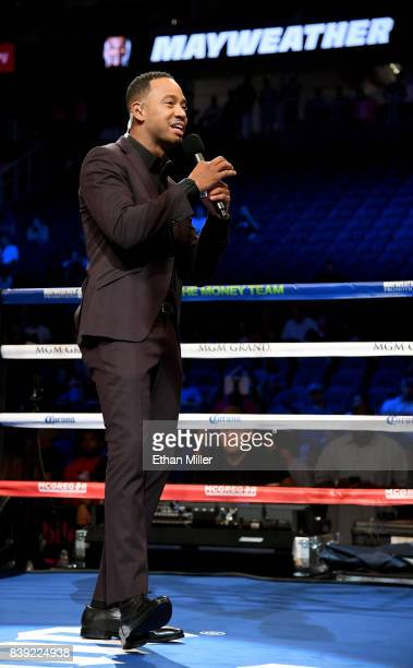 Actor Terrence J speaks before the official weighin for boxer Floyd Mayweather Jr and UFC lightweight champion Conor McGregor on August 25 2017 in...