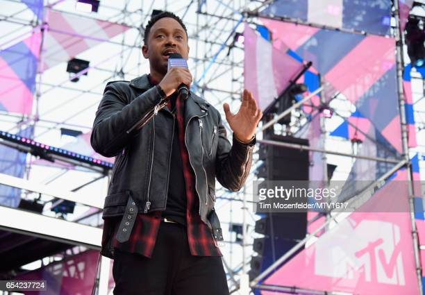 Actor Terrence J speaks onstage at MTV Woodies LIVE on March 16 2017 in Austin Texas