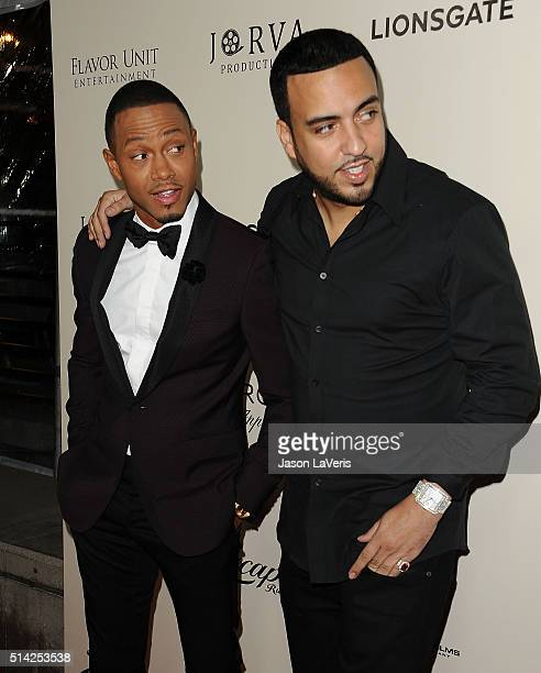 Actor Terrence Jenkins and actor/rapper French Montana attend the premiere of 'The Perfect Match' at ArcLight Hollywood on March 7 2016 in Hollywood...
