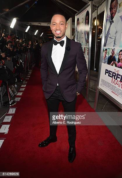 Actor Terrence Jenkins attends the premiere of Lionsgate's 'The Perfect Match' at ArcLight Hollywood on March 7 2016 in Hollywood California