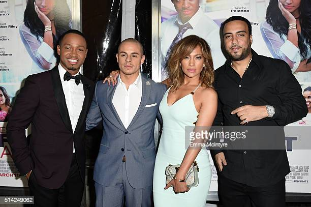 Actor Terrence Jenkins, Casper Smart, actress/singer Jennifer Lopez, and rapper French Montana attend the premiere of Lionsgate's 'The Perfect Match'...