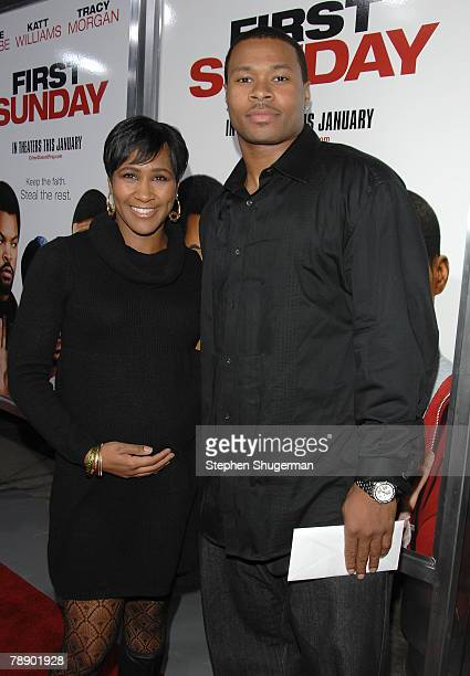 Actor Terri J Vaughn and fiancé Karon Riley attend the world premiere of Screen Gems First Sunday at the Cinerama Dome on January 10 2008 in...