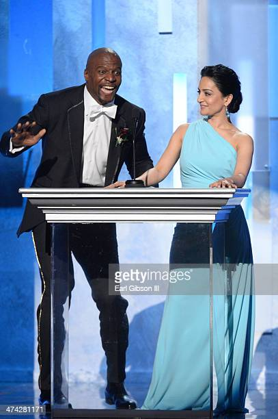 Actor Terry Crews and actress Archie Panjabi speak onstage during the 45th NAACP Image Awards at Pasadena Civic Auditorium on February 22 2014 in...