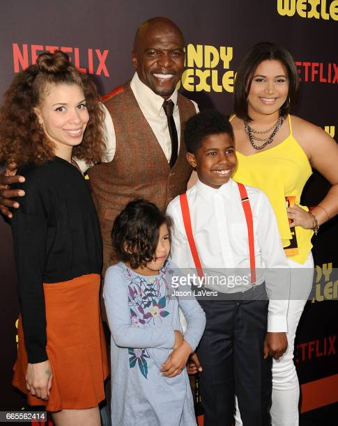 Actor Terry Crews and children attend the premiere of 'Sandy Wexler' at ArcLight Cinemas Cinerama Dome on April 6 2017 in Hollywood California