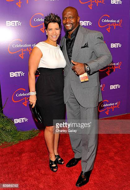 Actor Terry Crews and his wife Rebecca arrive at the 9th annual BET Celebration of Gospel held at the Orpheum Theatre on December 10 2008 in Los...