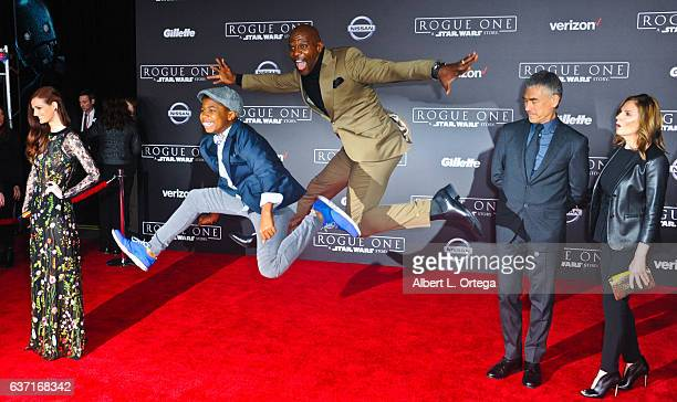 Actor Terry Crews and son Isaiah Crews arrive for the Premiere Of Walt Disney Pictures And Lucasfilm's Rogue One A Star Wars Story held at the...