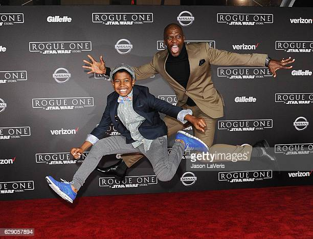Actor Terry Crews and son Isaiah Crews attend the premiere of Rogue One A Star Wars Story at the Pantages Theatre on December 10 2016 in Hollywood...