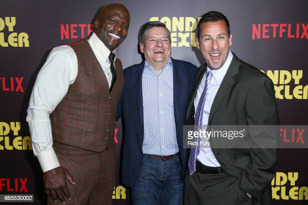 Actor Terry Crews Netflix Chief Content Officer Ted Sarandos and actor Adam Sandler attend the premiere of Netflix's 'Sandy Wexler' at the ArcLight...