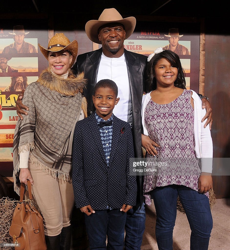 Actor Terry Crews, wife Rebecca King-Crews and children arrive at the premiere of Netflix's 'The Ridiculous 6' at AMC Universal City Walk on November 30, 2015 in Universal City, California.
