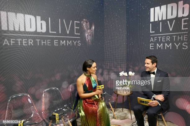 Actor Tessa Thompson and host Dave Karger attend IMDb LIVE After the Emmys at Microsoft Theater on September 17 2017 in Los Angeles California