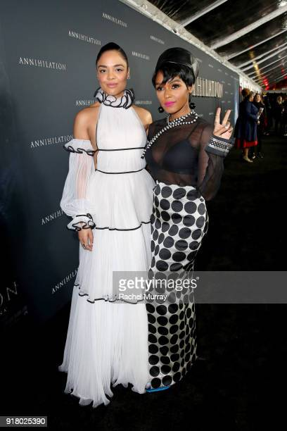 Actor Tessa Thompson and recording artist Janelle Monae attend the Los Angeles Premiere of 'Annihilaton' at Regency Village Theatre on February 13...