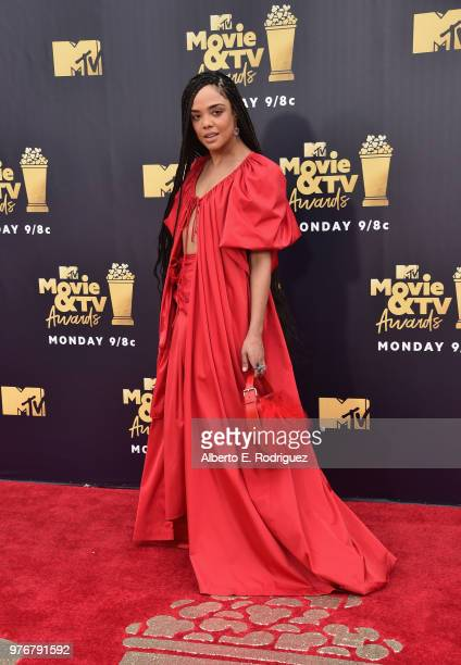 Actor Tessa Thompson attends the 2018 MTV Movie And TV Awards at Barker Hangar on June 16 2018 in Santa Monica California