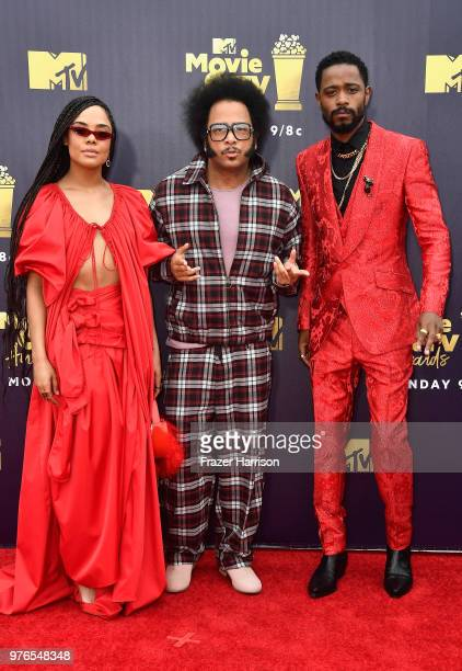 Actor Tessa Thompson director Boots Riley and actor Lakeith Stanfield attend the 2018 MTV Movie And TV Awards at Barker Hangar on June 16 2018 in...