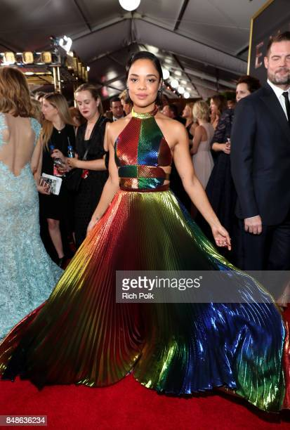Actor Tessa Thompson walks the red carpet during the 69th Annual Primetime Emmy Awards at Microsoft Theater on September 17 2017 in Los Angeles...