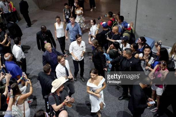Actor Thandie Newton writer/producers Jonathan Nolan and Lisa Joy actors Ben Barnes Jimmi Simpson and Angela Sarafyan attend the 'Westworld' signing...