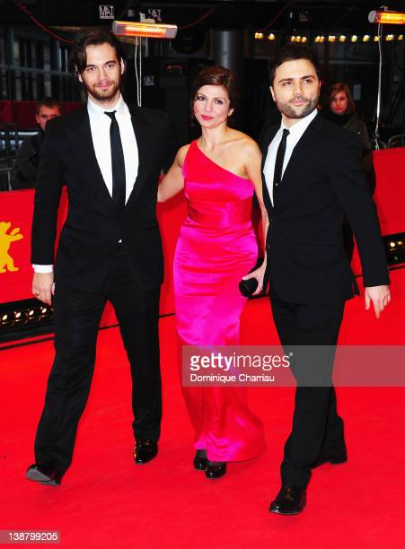 Actor Theo Alexander actress Tamila Koulieva and director Spiros Stathoulopoulos attend the Meteora Premiere during day four of the 62nd Berlin...
