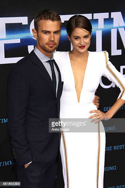 Actor Theo James and actress Shailene Woodley attend the 'Die Bestimmung Divergent' Germany premiere at Sony Centre on April 1 2014 in Berlin Germany