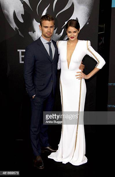 Actor Theo James and actress Shailene Woodley attend the 'Die Bestimmung - Divergent' Germany premiere at Sony Centre on April 1, 2014 in Berlin,...