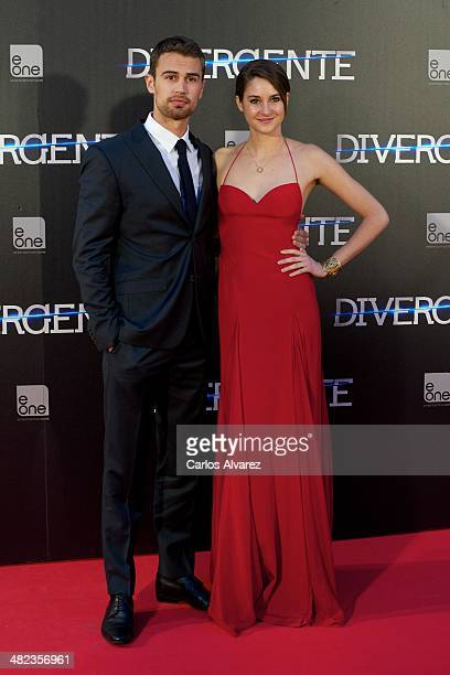 Actor Theo James and actress Shailene Woodley attend the 'Divergent' premiere at the Callao cinema on April 3 2014 in Madrid Spain