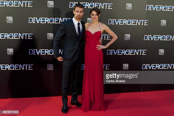 Actor Theo James and actress Shailene Woodley attend the Divergent premiere at the Callao cinema on April 3 2014 in Madrid Spain