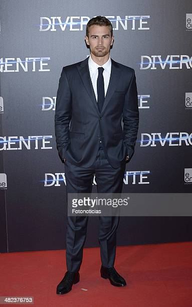Actor Theo James attends the 'Divergent' premiere at Callao Cinema on April 3 2014 in Madrid Spain