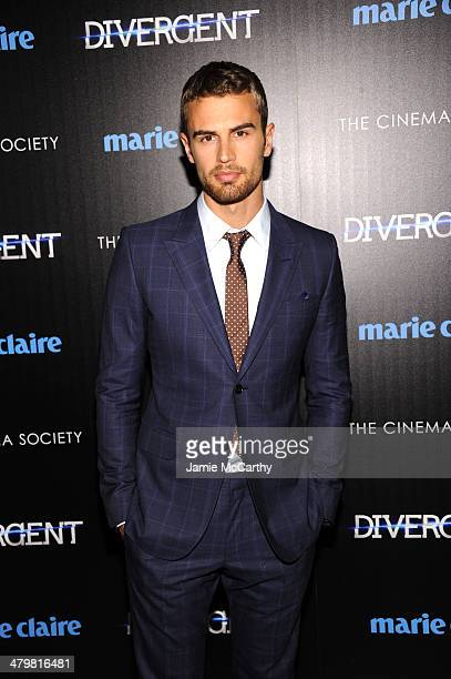 Actor Theo James attends the Marie Claire The Cinema Society screening of Summit Entertainment's Divergent at Hearst Tower on March 20 2014 in New...