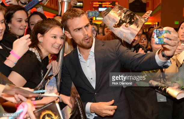 Actor Theo James Divergent makes a personal appearance at Regal Atlantic Station on March 3 2014 in Atlanta Georgia