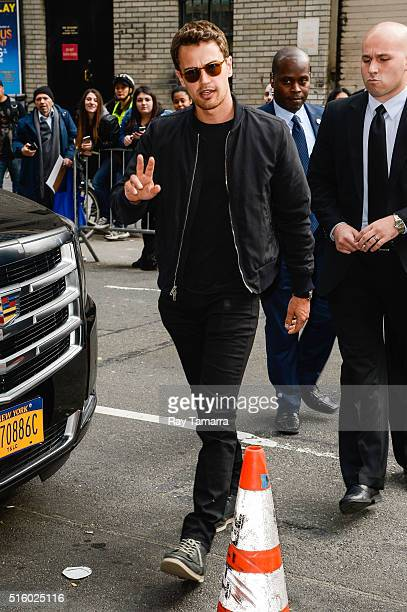 Actor Theo James enters 'The Late Show With Stephen Colbert' taping at the Ed Sullivan Theater on March 16 2016 in New York City