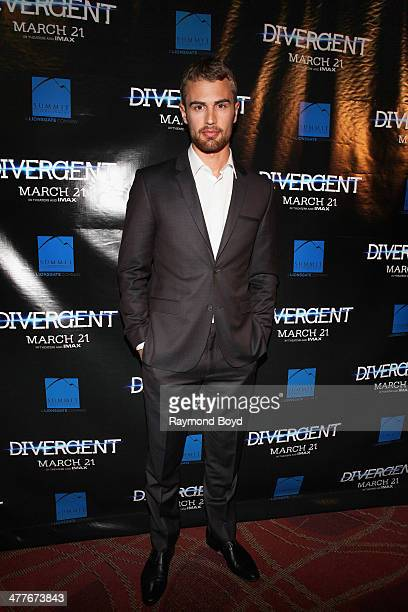 Actor Theo James poses for photos on the red carpet for the 'Divergent' screening at Kerasotes Showplace ICON on March 4 2014 in Chicago Illinois