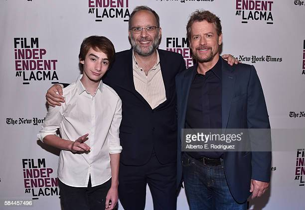 Actor Theo Taplitz director Ira Sachs and actor Greg Kinnear attend Film Independent at LACMA's Special Screening and QA of Little Men at The Bing...