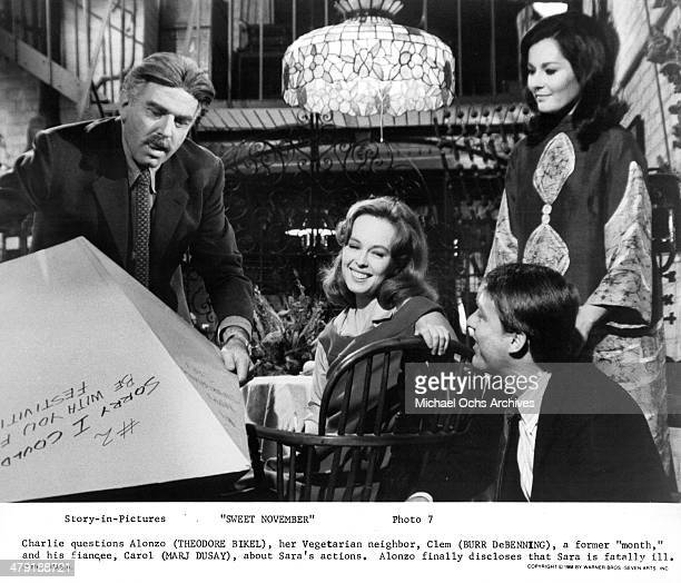 Actor Theodore Bikel actress Sandy Dennis actor Burr DeBenning and actress Marj Dusay in a scene from the Warner Bros movie Sweet November circa 1968