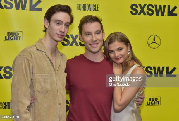 Actor Theodore Pellerin director Jason Stone and actor Stefanie Scott attend the premiere of 'First Light' during SXSW at Alamo Lamar on March 10...