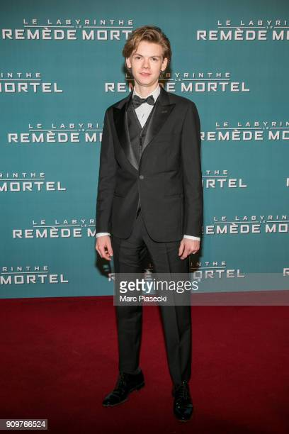 Actor Thomas BrodieSangster attends the 'Maze Runner The Death Cure' Premiere at Le Grand Rex on January 24 2018 in Paris France
