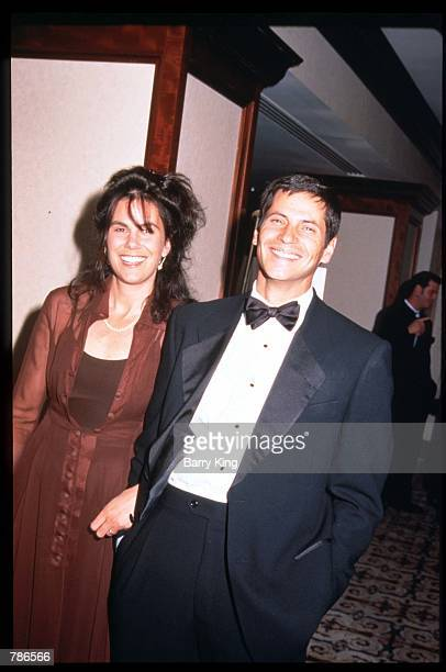 Actor Thomas Calabro stands with his wife Elizabeth Pryor at the Genesis Awards April 5, 1997 in Los Angeles, CA. The Genesis Award is presented by...