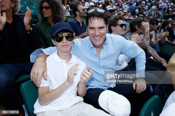 Actor Thomas Gibson and his son Travis Carter Gibson attend the 2017 French Tennis Open Day Thirteen at Roland Garros on June 9 2017 in Paris France