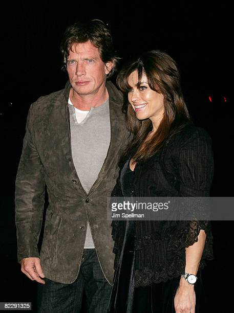 """Actor Thomas Haden Church and wife Mia Zottoli Church arrives at the Cinema Society and Linda Wells Host a Screening of """"Smart People"""" at the..."""
