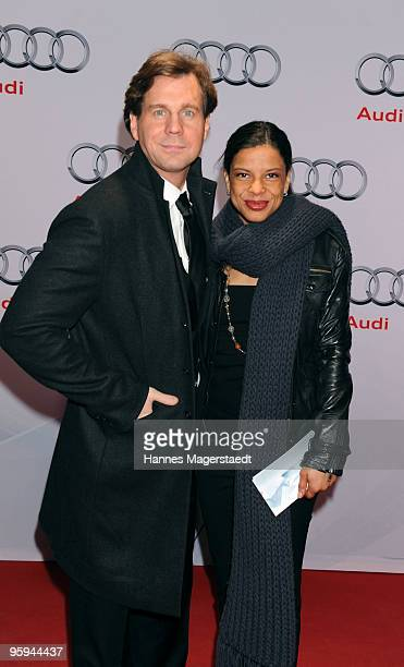 Actor Thomas Heinze and his wife Jackie Brown attend the Audi Night at Hotel 'Zur Tenne' on January 22 2010 in Kitzbuehel Austria