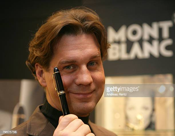 Actor Thomas Heinze holds a fountain pen during the Montblanc 'Meisterstueck 149' charity presentation in aid of the United Nations Children's Fund...